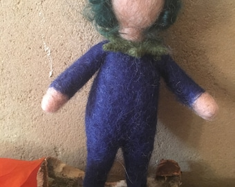 Blue berries child hand felted felt figure mobile organic Merino Wool