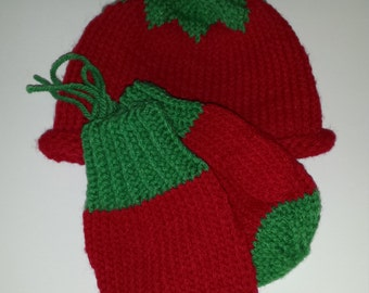 Child size Berry Hat and Mitten set