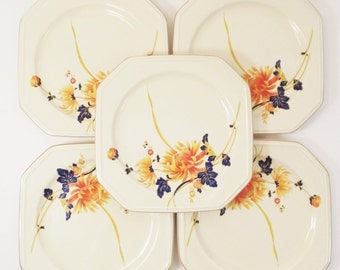 Vintage 5 Piece Mikasa Salad plate set-Continental Ivory-F 4005 Majestic-Orange and blue flower motif- glass ceramic plates-serving wear