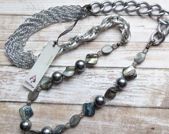 long pearl chain necklace - grey statement necklace - CO449