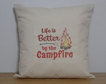 Campfire Saying Pillow Cover. Embroidered Throw Pillow Cover. Embroidered Campinng Saying Pillow Cover. Gift For Camping Lovers.