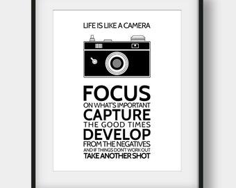 50% OFF Life Is Like A Camera, Camera Art, Camera Print, Black and White, Scandinavian Print, Modern Wall Decor, Inspirational, Motivational