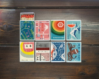 set of 8 MATCHBOX of japanese various ads vintage style printing old matches match holder