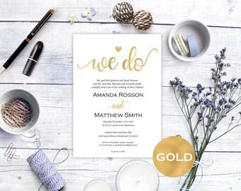 Gold Wedding Invitation Template - Printable wedding - Wedding Invitation Template - Editable Text - Downloadable Wedding #WDH0171