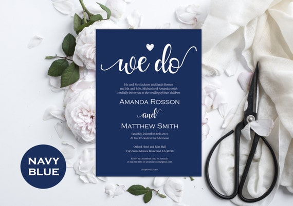 Navy Blue Wedding Invitation Printable - Wedding Editable Invitation -  Wedding Navy Blue - Editable text - Downloadable wedding #WDH0189