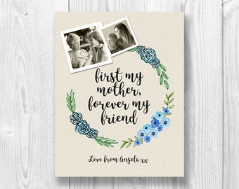 Custom Mother's day gift, Watercolour floral wreath, Photo gift, Digital download
