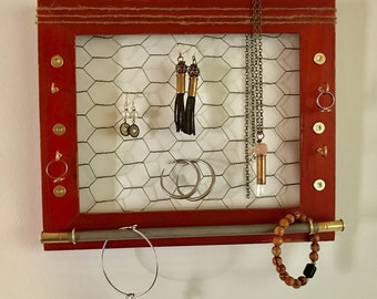 sw bullet accented burgundy 8x11 frame jewelry holder