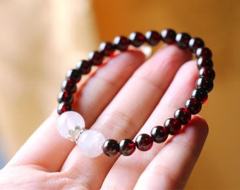 Natural Red Garnet Crystal with Rose Quartz Crystal Round Beads Stretch Bracelet