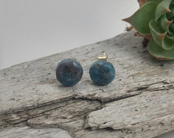 hand carved Apatite recycled sterling silver earrings, handmade Apatite studs, 925 recycled sterling silver studs, Apatite earrings