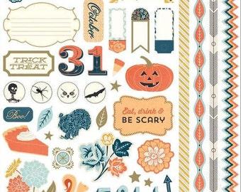 Scrapbook Stickers, Basic Grey, Persimmon, Cardstock Stickers, Thanksgiving Stickers, Fall Stickers, Autumn Stickers, Halloween Stickers