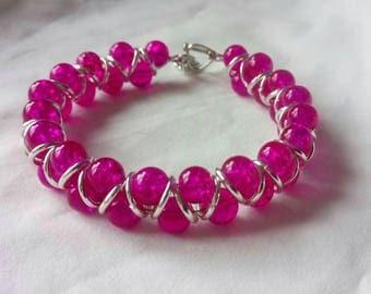 Cerise pink translucent marble goddess bracelet