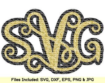 Shadow Interlocking Vine Monogram Font Alphabet Letters svg files for Cricut Silhouette svg cut files Designs Digital fonts Instant Download