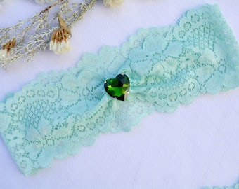 Wedding Garter Mint, Green Lace Garter, Stretch Lace Garter, Wedding Garter Set, Toss Garter, Emerald Garter, Wedding Accessorie, Garter Set