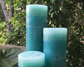 Seafoam Pillar Candle Set