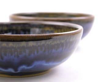 ceramic bowls. set of 2 stoneware bowls. hand thrown pottery bowls. flowing deep blue glaze. cereal bowls.  handmade dishes. READY TO SHIP