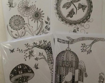 The Decorative Collection - 4 Zentangle Art Cards: 'Make A Wish'; 'Pretty Things' Dragonfly; 'Fairy Glen' & 'Free As A Bird' Birdcage