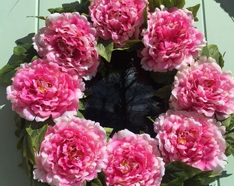 Pink Tree Peony door wreath