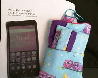 Sew Crafty Kris Cell Phone Sleeve made with cute owls flannel, extra outside pocket, tissue holder