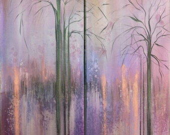 Abstract Original Painting Contemporary Modern Art Landscape Inspired by Nature - Silhouettes I & II