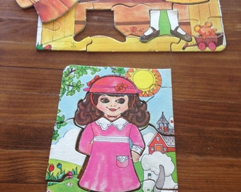 Vintage girl's jigsaw puzzle/vintage puzzle/interactive puzzle/girl's gift/children's puzzle/unique children's puzzle/craft supply/CLEARANCE