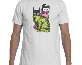 Elvis and Batman Cats White TShirt Men