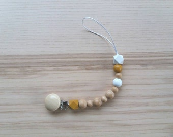 Pacifier clip/clip/clip/Teeth Dummy Soother Pacifier cord/cord/pacifier holder/Teething necklace/Lillefe Ochre