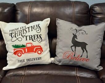 Christmas Throw Pillow / Winter Throw Pillow WITH Insert