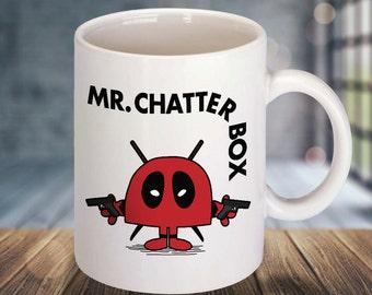 Mug Marvel/Mr Men mashup of Deadpool & Mr Chatterbox