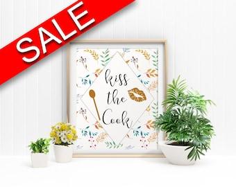 Wall Art Kiss The Cook Digital Print Kiss The Cook Poster Art Kiss The Cook Wall Art Print Kiss The Cook Kitchen Art Kiss The Cook Kitchen