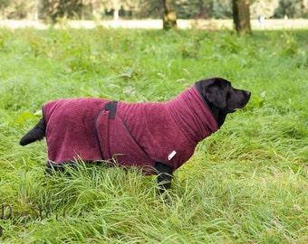 Dog Bathrobe burgundy red - Made to Order - Doggy bathrobe