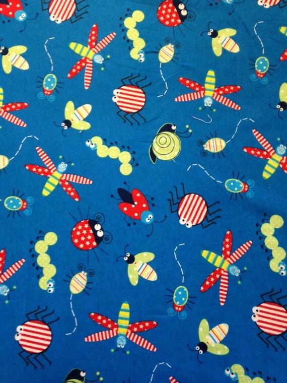 Soft Blue Bug Fabric