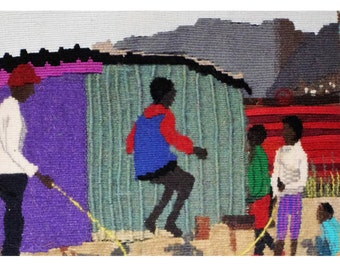 Skipping amongst the shacks, print of a tapestry, 270 x 383 mm