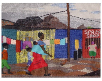 Shopping in the Township: Print of a tapestry, 270 x200 mm
