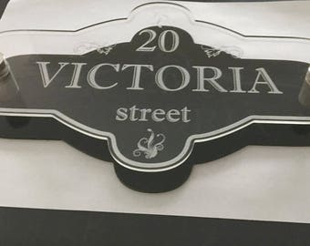 Perspex Acrylic house plaque  reverse engraved with stainless steel spascers