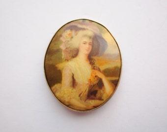 Antique Victorian Hand Painted Porcelain Portrait Brooch