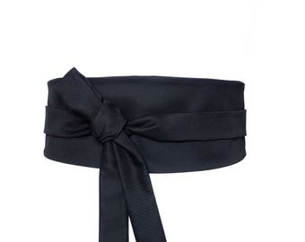 Haute Couture Cotton, Reversible Waist belt, Obi style - black wrap fabric corset cincher sash