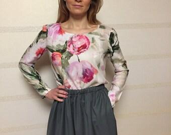 Wool top/ wool blouse