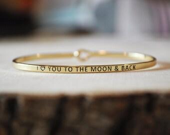 "Bangle Bracelet, ""I <3 You To The Moon and Back"""