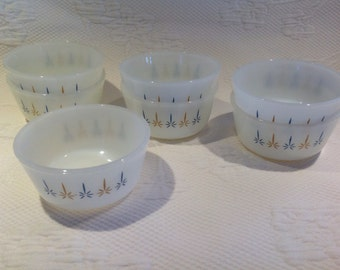 "Custard cup ""Candle Glow"" of Fire-King / / set of 7"
