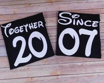 Together since shirts, Disney Couples Shirt, Disney Honeymoon shirts, Couples shirt, Wedding Anniversary, Disney matching shirts, Couples