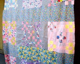Vintage scrappy quilt top!  Bright colors. 1940-1950's?  They used the fabric that they had.