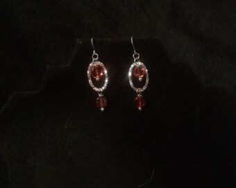 Silver and orange dangle earings