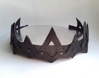 Leather crown, viking crown, medieval crown, leather Headpiece Medieval Circlet, Goth crown, rock crown, black crown, biker jewelry