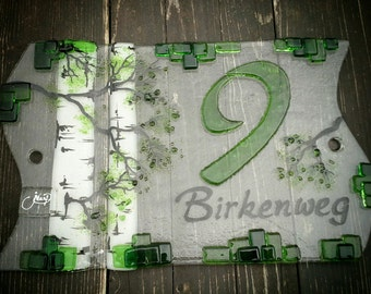 House number made of glass 'Birch'