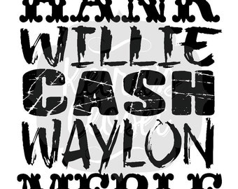 Hank Willie Cash Country Sublimation Ready to Press Transfer