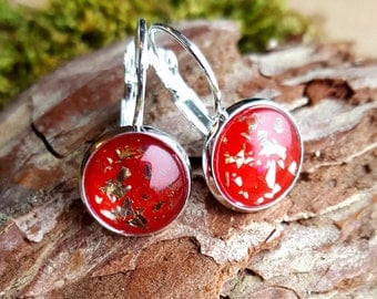 Earrings with gold and red. Glitter rings ear earrings, earrings, earrings