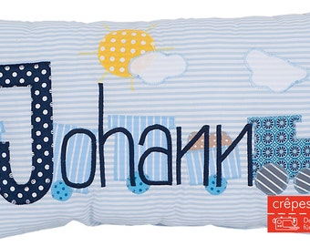 Crepes Yogendra pillow with names, name cushions locomotive, train