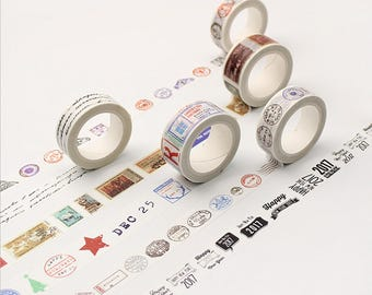 Vintage Postmark Washi, Postmark Decorative Tape, Japanese Washi Tape, Vintage Washi Tape