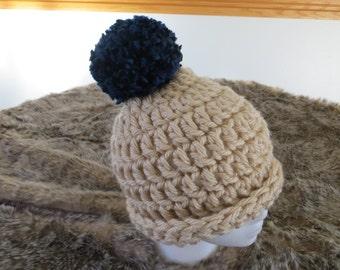 Cream and Navy Crochet Hat