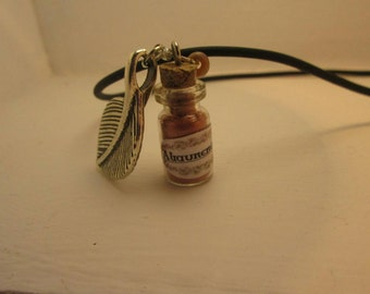 Necklace with glass vial, potion ingredients - Mandrake Earth